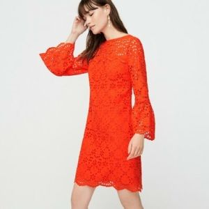 j.crew   embroidered eyelet bell sleeve dress red